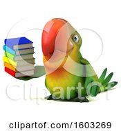 Poster, Art Print Of 3d Green Macaw Parrot Holding Books On A White Background