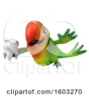 Clipart Of A 3d Green Macaw Parrot Holding A Tooth On A White Background Royalty Free Illustration