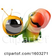 Clipart Of A 3d Green Macaw Parrot Holding A Tv On A White Background Royalty Free Illustration
