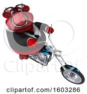 3d Red Business Bull Biker Riding A Chopper Motorcycle On A White Background