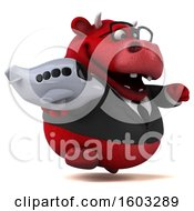 Poster, Art Print Of 3d Red Business Bull Holding A Plane On A White Background