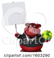 3d Red Business Bull Holding A Globe On A White Background