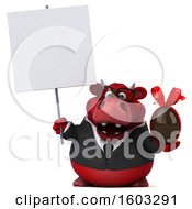 3d Red Business Bull Holding A Chocolate Egg On A White Background