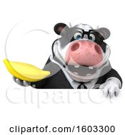 Poster, Art Print Of 3d Business Holstein Cow Holding A Banana On A White Background
