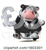 3d Business Holstein Cow Holding A Lira On A White Background