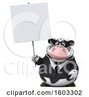 3d Business Holstein Cow Holding A Sign On A White Background