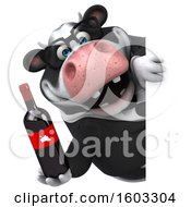 3d Business Holstein Cow Holding Wine On A White Background