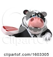 3d Business Holstein Cow Holding A Steak On A White Background