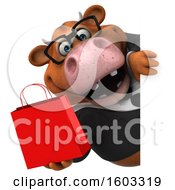 3d Brown Business Cow Holding A Shopping Bag On A White Background