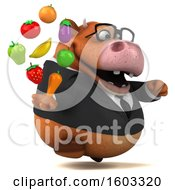 3d Brown Business Cow Holding Produce On A White Background
