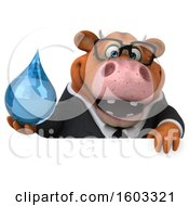 3d Brown Business Cow Holding A Water Drop On A White Background