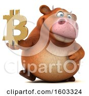 Poster, Art Print Of 3d Brown Cow Holding A Bitcoin Symbol On A White Background
