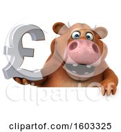 3d Brown Cow Holding A Lira On A White Background