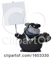 3d Black Business Bull Holding A Camera On A White Background