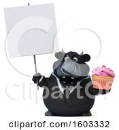 3d Black Business Bull Holding A Cupcake On A White Background