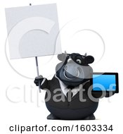 Poster, Art Print Of 3d Black Business Bull Holding A Tablet On A White Background