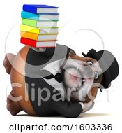 Poster, Art Print Of 3d Gentleman Or Business Bulldog Holding Books On A White Background