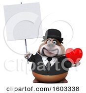 Poster, Art Print Of 3d Gentleman Or Business Bulldog Holding A Heart On A White Background