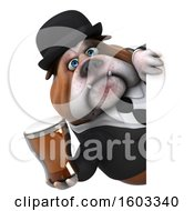 Poster, Art Print Of 3d Gentleman Or Business Bulldog Holding A Beer On A White Background