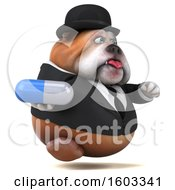 3d Gentleman Or Business Bulldog Holding A Pill On A White Background