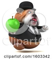 Clipart Of A 3d Gentleman Or Business Bulldog Holding An Apple On A White Background Royalty Free Illustration by Julos