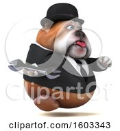 Clipart Of A 3d Gentleman Or Business Bulldog Holding A Wrench On A White Background Royalty Free Illustration by Julos
