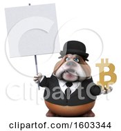 Clipart Of A 3d Gentleman Or Business Bulldog Holding A Bitcoin Symbol On A White Background Royalty Free Illustration by Julos