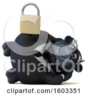 3d Black Business Bull Holding A Padlock On A White Background