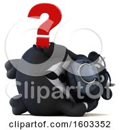 3d Black Business Bull Holding A Question Mark On A White Background