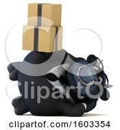 3d Black Business Bull Holding Boxes On A White Background