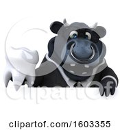 3d Black Business Bull Holding A Tooth On A White Background