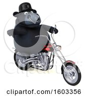 3d Black Bull Biker Riding A Chopper Motorcycle On A White Background