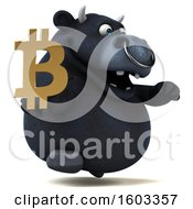 Poster, Art Print Of 3d Black Bull Holding A Bitcoin Symbol On A White Background