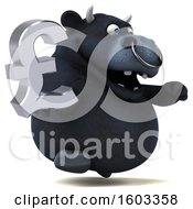 Poster, Art Print Of 3d Black Bull Holding A Lira On A White Background