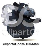 3d Black Bull Holding A Lira On A White Background
