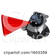 3d Black Business Bull Using A Megaphone On A White Background