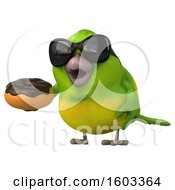 Clipart Of A 3d Green Bird Holding A Donut On A White Background Royalty Free Illustration by Julos