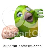 Poster, Art Print Of 3d Green Bird Holding A Brain On A White Background