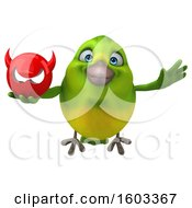 Poster, Art Print Of 3d Green Bird Holding A Devil On A White Background