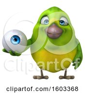 Clipart Of A 3d Green Bird Holding An Eyeball On A White Background Royalty Free Illustration by Julos
