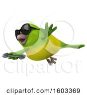 Poster, Art Print Of 3d Green Bird Holding A Wrench On A White Background