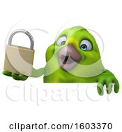 Clipart Of A 3d Green Bird Holding A Padlock On A White Background Royalty Free Illustration by Julos