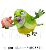 Poster, Art Print Of 3d Green Bird Holding A Piggy Bank On A White Background