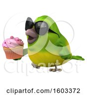 Poster, Art Print Of 3d Green Bird Holding A Cupcake On A White Background