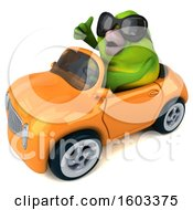 Poster, Art Print Of 3d Green Bird Driving A Convertible On A White Background