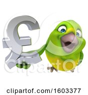 Clipart Of A 3d Green Bird Holding A Lira Symbol On A White Background Royalty Free Illustration by Julos
