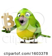 Clipart Of A 3d Green Bird Holding A Bitcoin Symbol On A White Background Royalty Free Illustration by Julos