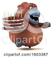 Poster, Art Print Of 3d Orangutan Monkey Holding A Birthday Cake On A White Background