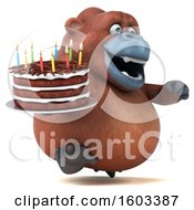 Clipart Of A 3d Orangutan Monkey Holding A Birthday Cake On A White Background Royalty Free Illustration