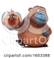 Clipart Of A 3d Orangutan Monkey Holding A Fish Bowl On A White Background Royalty Free Illustration